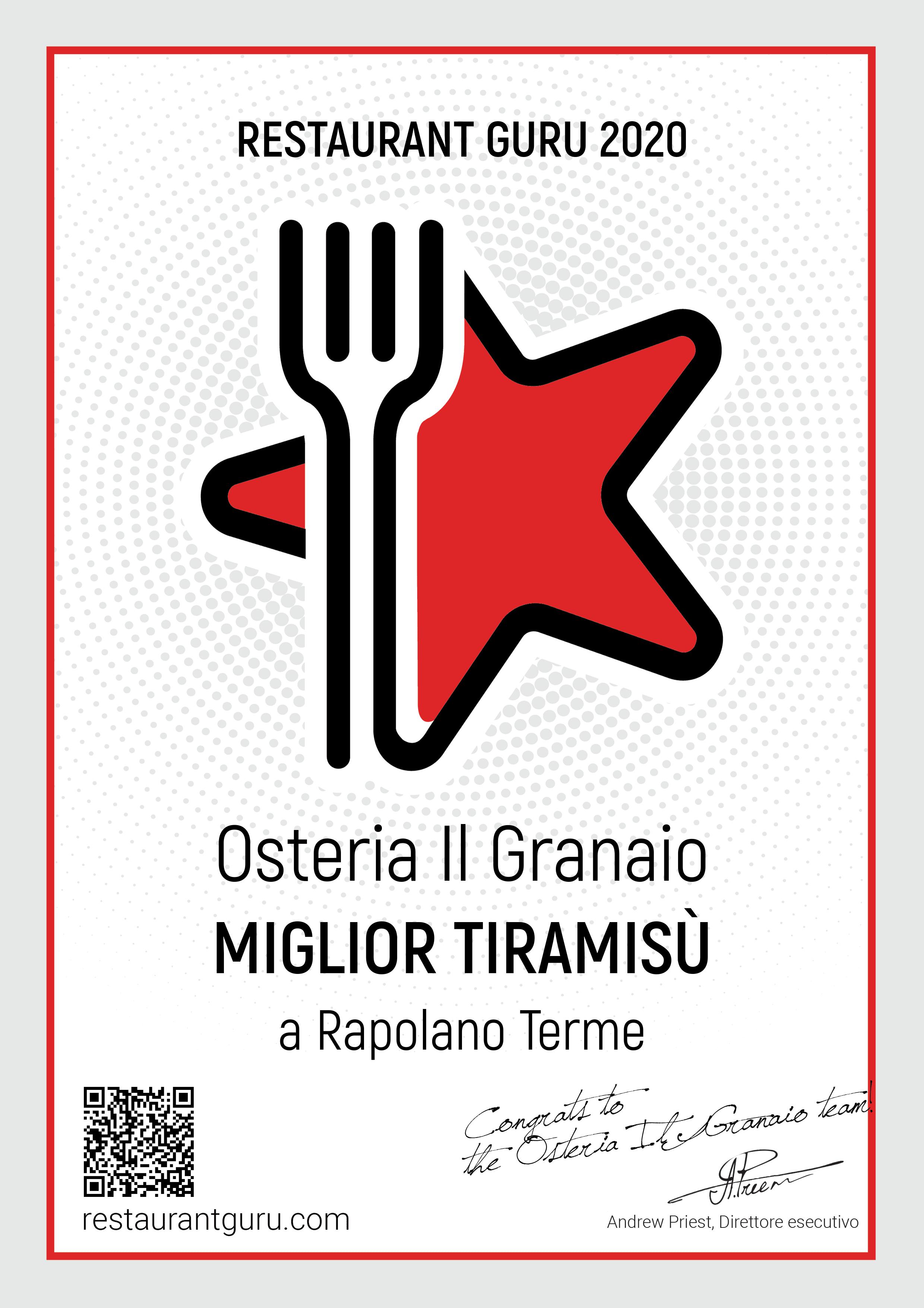 RestaurantGuru_Certificate-MigliorTiramisu